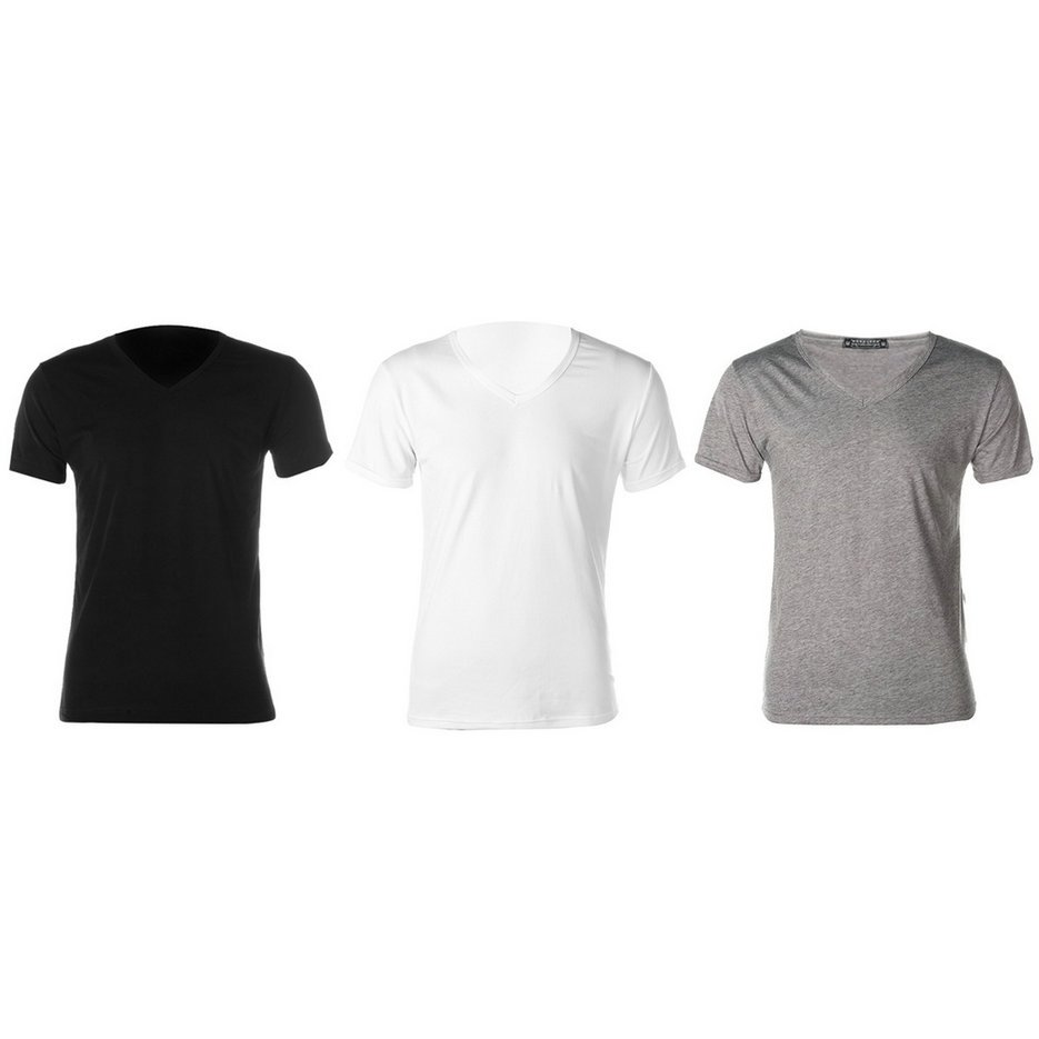 New Fashion Men Slim Fit Cotton V-Neck Short Sleeve Casual T-Shirt Tops Hot EF