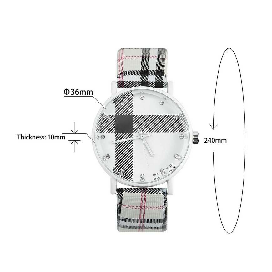 Fashion Plaid Leatheroid Watch Women Men's Sport Casual Quartz Wristwatch FE