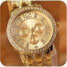 Hot Womens Lady Luxury Gold Crystal Quartz Rhinestone Crystal Wrist Watch FE