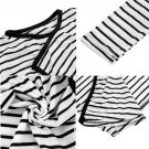 Women Long Sleeve Striped Casual Tops Cardigan Blouse Jacket Coat Excellent EF