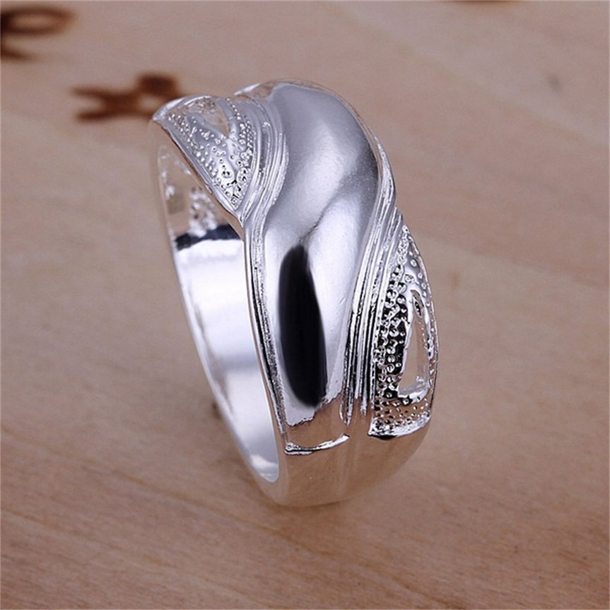 New Fashion Silver Plating Finger Rings Size 8 Women Party Jewelry Gift FE