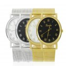 Fashion Gold Silver Classic Womens Geneva Quartz Stainless Steel Wrist Watch FE