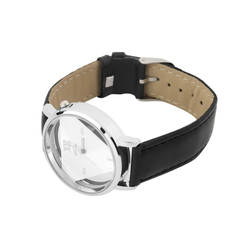 Cool Fashion PU Leather Band Stainless Steel Analog Quartz Mens Wrist Watch FE