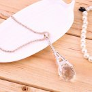 New Women Girl Tower Transparent Crystal Ball Pendant Long Necklace FE
