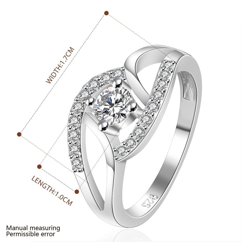 New Women Silver Plating Bling Crystals Band Solid Ring Size 8 Jewelry FE