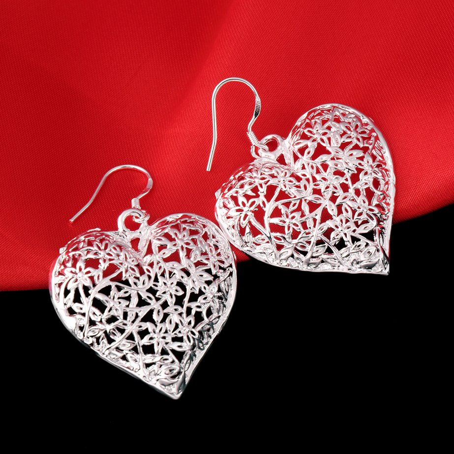 Women Silver-Plated Vintage Hollow Heart Dangle Hook Earrings Jewelry FE