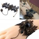 Black Lace Bracelets with Ring Lolita Acrylic Beads Metal for Women FE