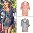 Retro Summer Women's Casual Floral Print V-Neck One Piece Casual Shift Dress FE