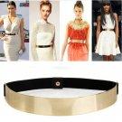 Women Elastic Metal Waist Belt Metallic Bling Gold Plate slim Simple Band LK