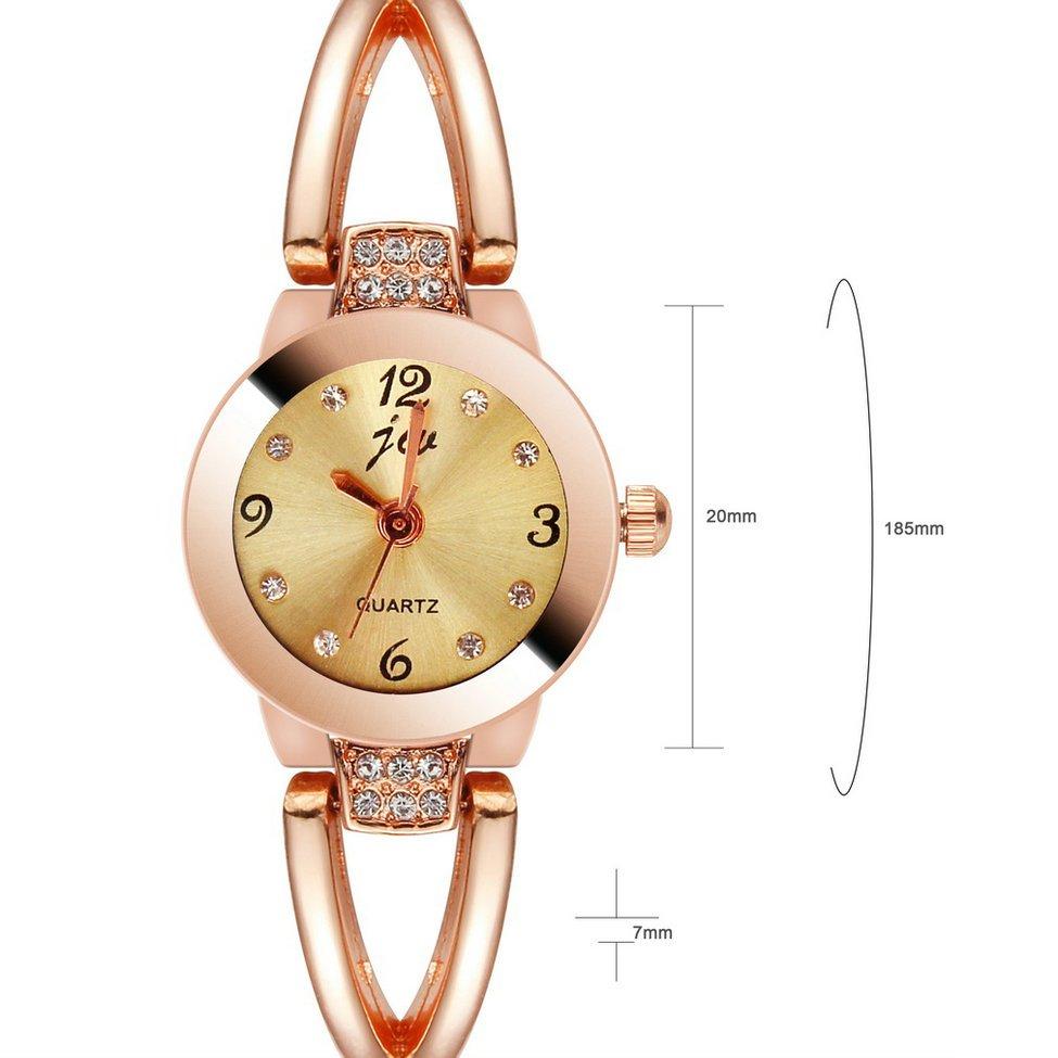 Fashion Women Diamond Watches Crystal Quartz Bracelet Bangle Wrist Watch FE