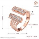 Popular Women Opening Ring Zircon Crystal Size 8 Wedding Jewelry Gift FE