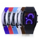 Mens Sports RPM Turbo Blue Flash LED Sports Car Meter Dial Watch Wristwatch FE
