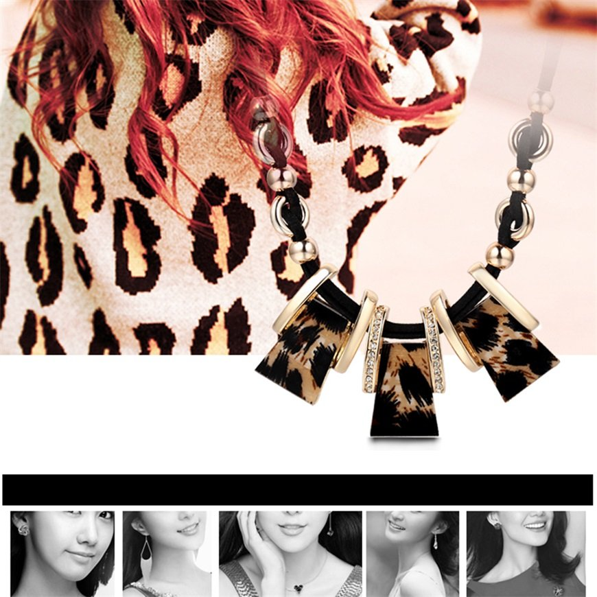 Women Charm Leopard Geometry Tassel Collar Short Necklace Sexy Fashion Party FE