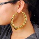 1 Pair Fashion Punk Gold Tone Bamboo Big Hoop Large Circle Earrings GP