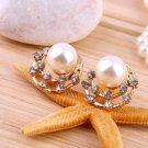 Women's Fashion Jewelry Pearl Moon Rhinestone Star Golden Ear Stud Earrings FE