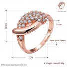 Women Rose Gold-Plating Zircon Crystal Waterdrop Ring Size 8 Jewelry Gift FE