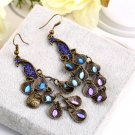 Women Bohemian Style Lady Long Pendant Vintage Retro Blue Peacock Earrings Hot E