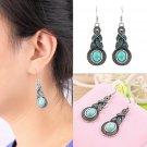1 Pair Women Vintage Turquoise Crystal Bead Ear Hook Dangle Earrings Jewelry FE