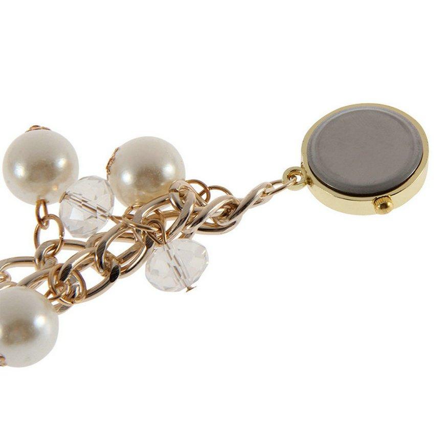 Women Pearl Rhinestone Watches Quartz Analog Bracelet Wrist Dress Watch FE