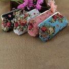 Women Rose Pattern Long Style Coin Purse Canvas Zipper Bag Wallet Pocket  FE