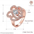Women Lady Special Rose Gold-Plating Zircon Crystal Ring Size 8 Jewelry Gift FE