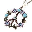 Peace Sign Vintage Pendant Long Necklace Jewelry Flowers Rhinestones NEW FE