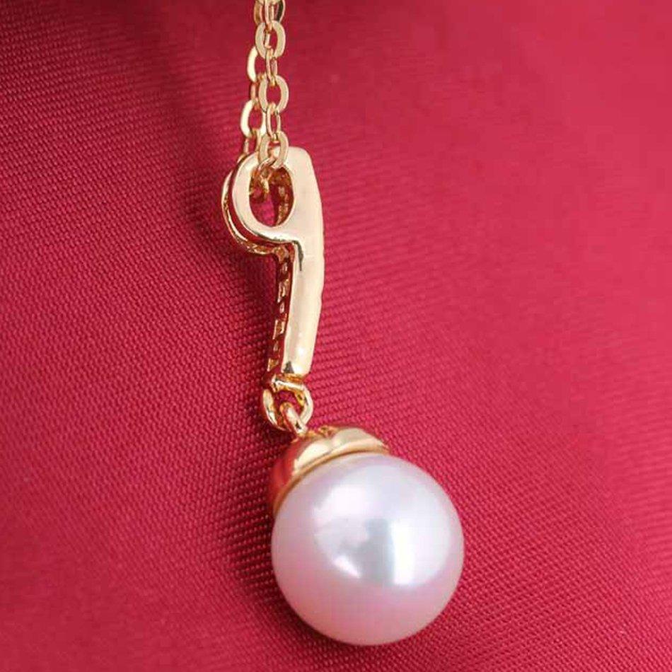 Fashion Women Girls Charm Pearl Rhinestone Pendant Necklace Chain Gift Party FE