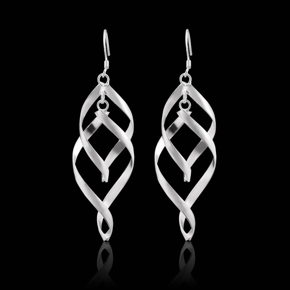 Women Elegant Silver-Plated Plated Two Size Twist Dangle Earrings FE