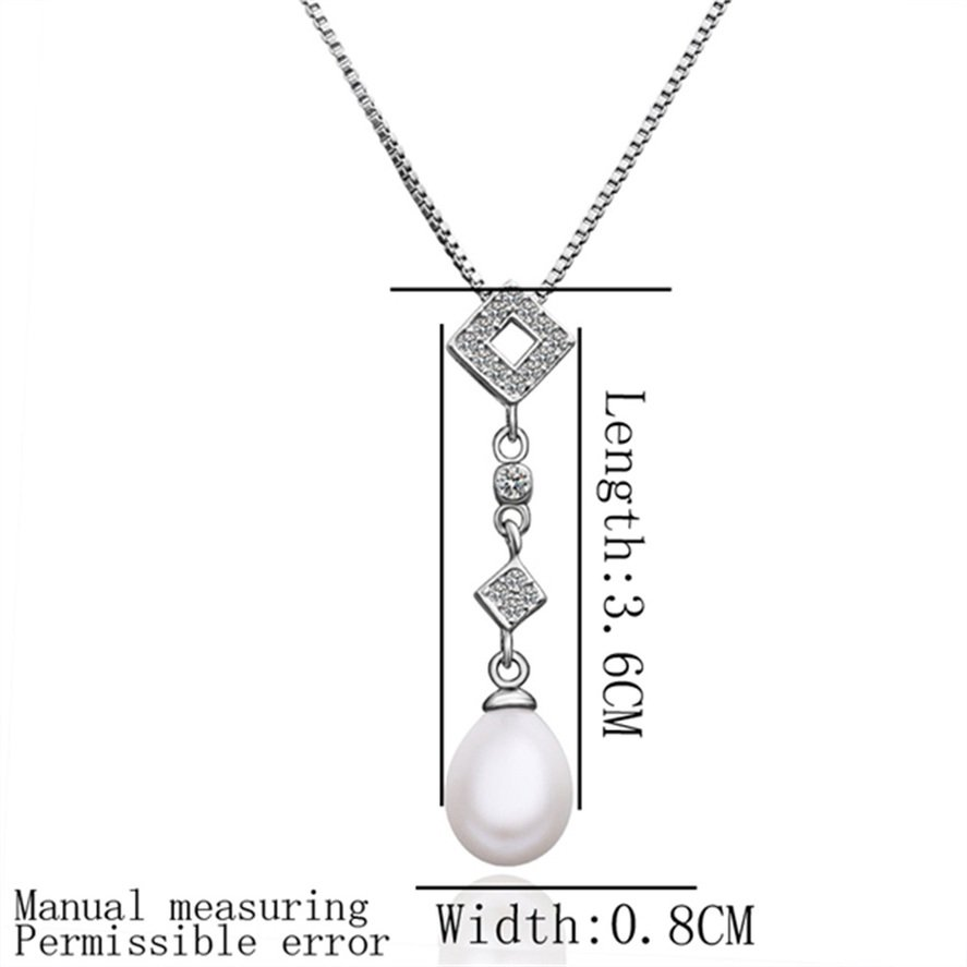 New Fashion Women Charm Crystal Pearl Geometry Pendant Necklace Jewelry FE