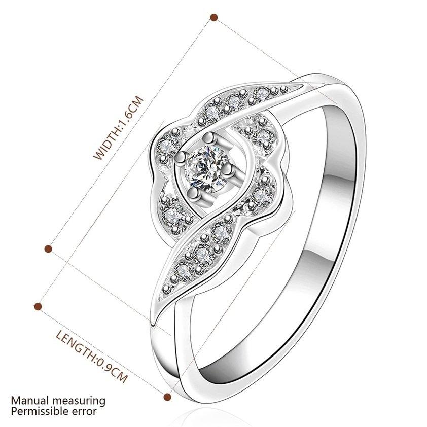 Women Elegant Silver Plating Flower Crystal Engagement Ring Jewelry Gift FE