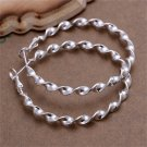 Modern Women Fashion Silver Plating Twisted Round Circle Hoop Earrings Gift FE