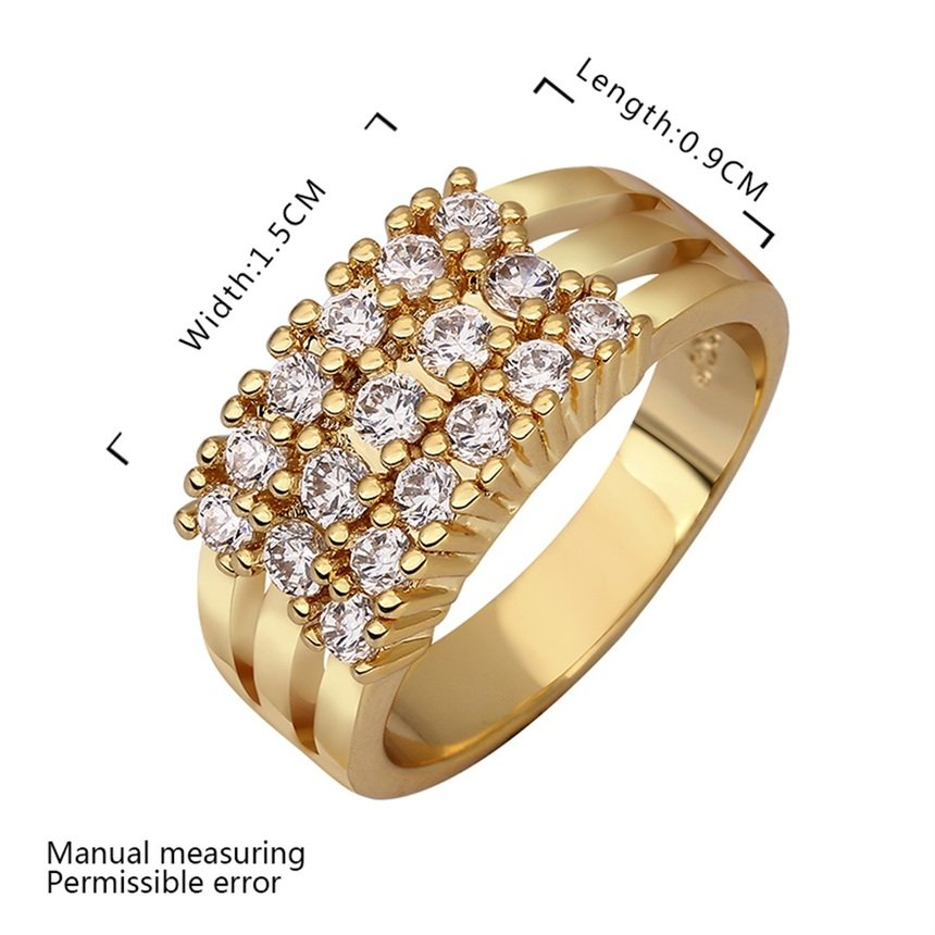 Elegant Lady Gold-Plated Crystal Rings Wide Finger Band Jewelry Gift New FE