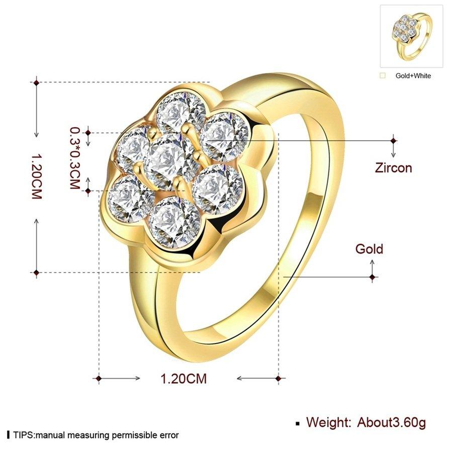 Simple Lovely Women Gold-Plating Flower Shape Zircon Crystal Ring Size 8 FE