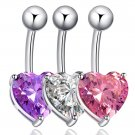 Women's Charm Crystal Heart Love Belly Button Bar Body Piercing Navel Ring FE