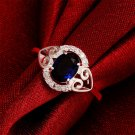 Women Simple Silver Plating Rings Blue Ellipse Wedding Engagement Ring Gift FE