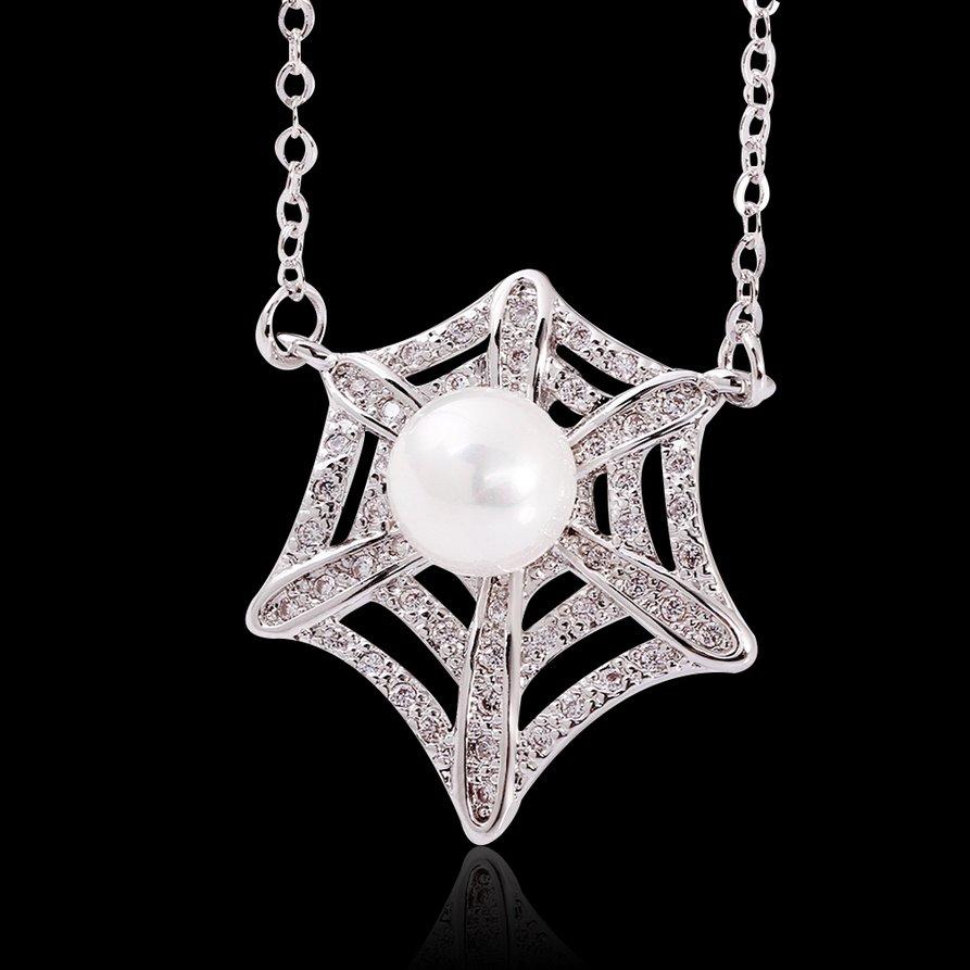 Women New Fashion Platinum Plating Star Imitation Pearl Pendant Necklace FE