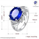 Blue Rhinestone Hollow Design Zircon Crystal Ring Size 8 Women Jewelry FE