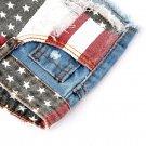 Hot Sexy American US Flag Mini Jeans Shorts Pants Trousers Denim Low Waist EF