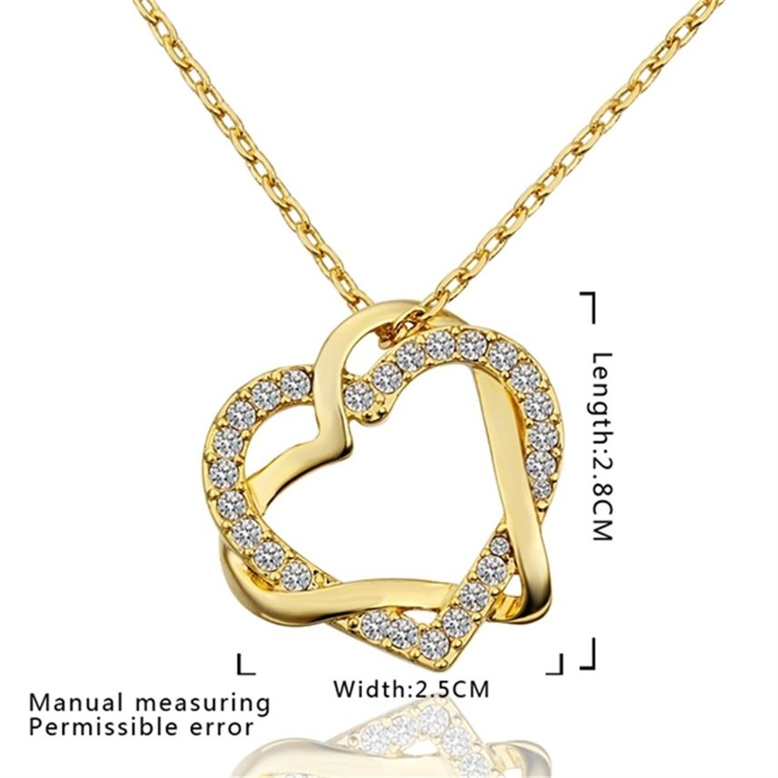 Girl's Lovely Exquisite Heart Shaped Tin Alloy Pendent Necklace for Gift FE