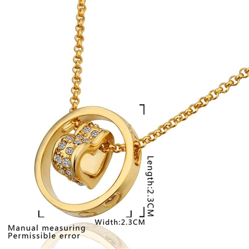Girl's Lovely Heart Shaped Alloy Golden Pendent Necklace for Gift FE