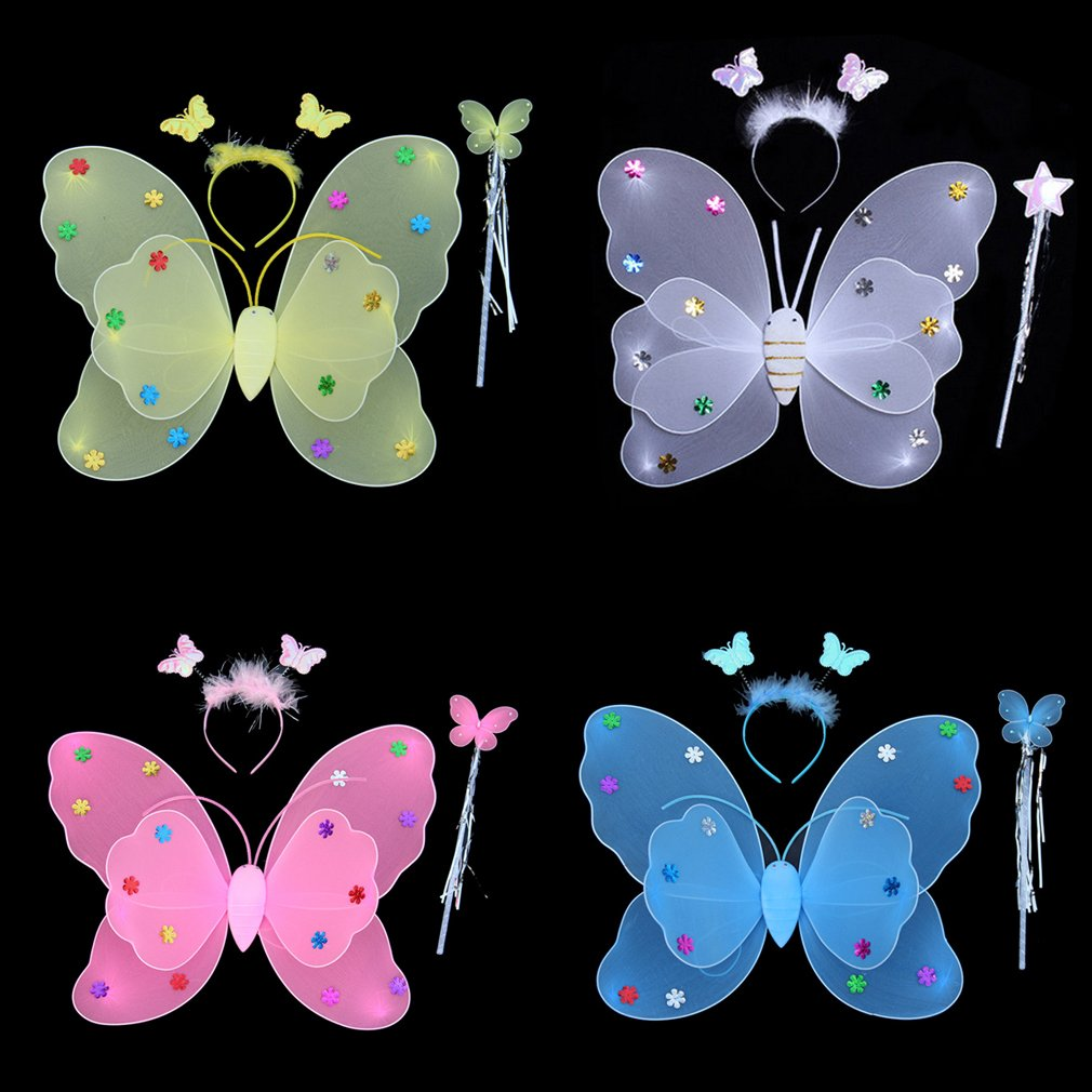 """3Pcs 14x15"""" Fairy Angel Butterfly Wings Baby Toddler Child Costume Gift Party FE"""