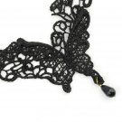 Hot Sexy Women Black Lace Butterfly Chain Beads Pendant Necklace Collar FE