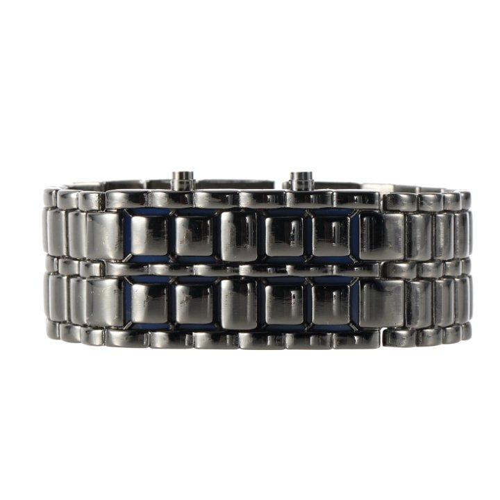 Luxury Gentle Man Men's Blue LED Lava Style Gift Iron Samurai Metal Watches FE