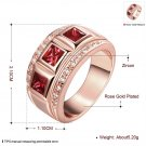 Womens Chic Luxury Red Zircon Crystal Wide Band Ring Size 8 Jewelry Gift FE