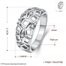 Unique Women Hollow Geometry Zircon Crystal Wide Band Ring Size 8 Jewelry FE