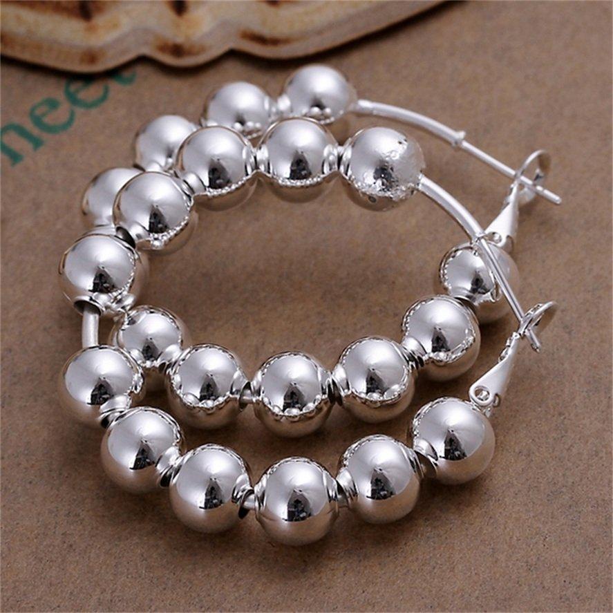 1 Pair Women's Silver Plating Full Round Beads Shape Ear Hoop Earrings 4.2cm FE