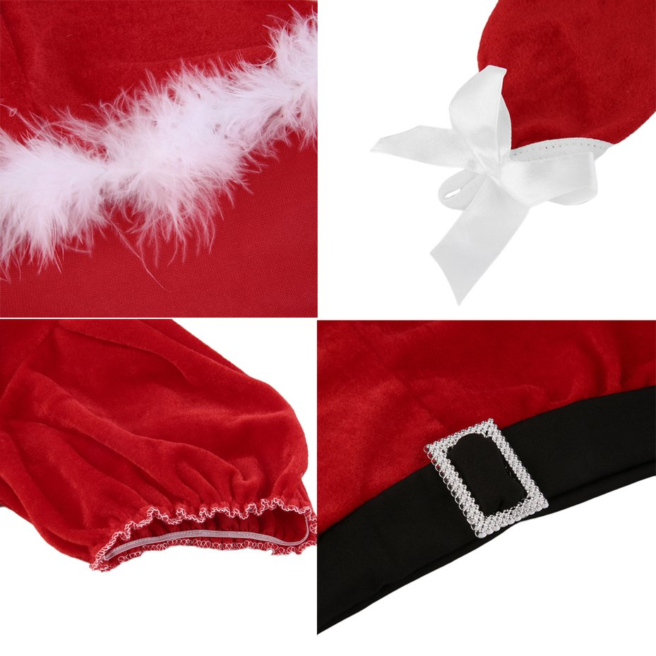 Sexy Women Christmas Xmas Santa Fancy Dress Costume Outfit Top Shorts Set FE