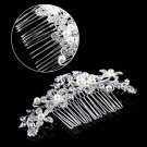Ladies Silver Rhinestone Bridal Wedding Flower Pearls Headband Hair Clip Comb EF