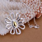 P044 Girls Women Charm Silver Plated Tone Flower Zircon Pendant Jewelry FE