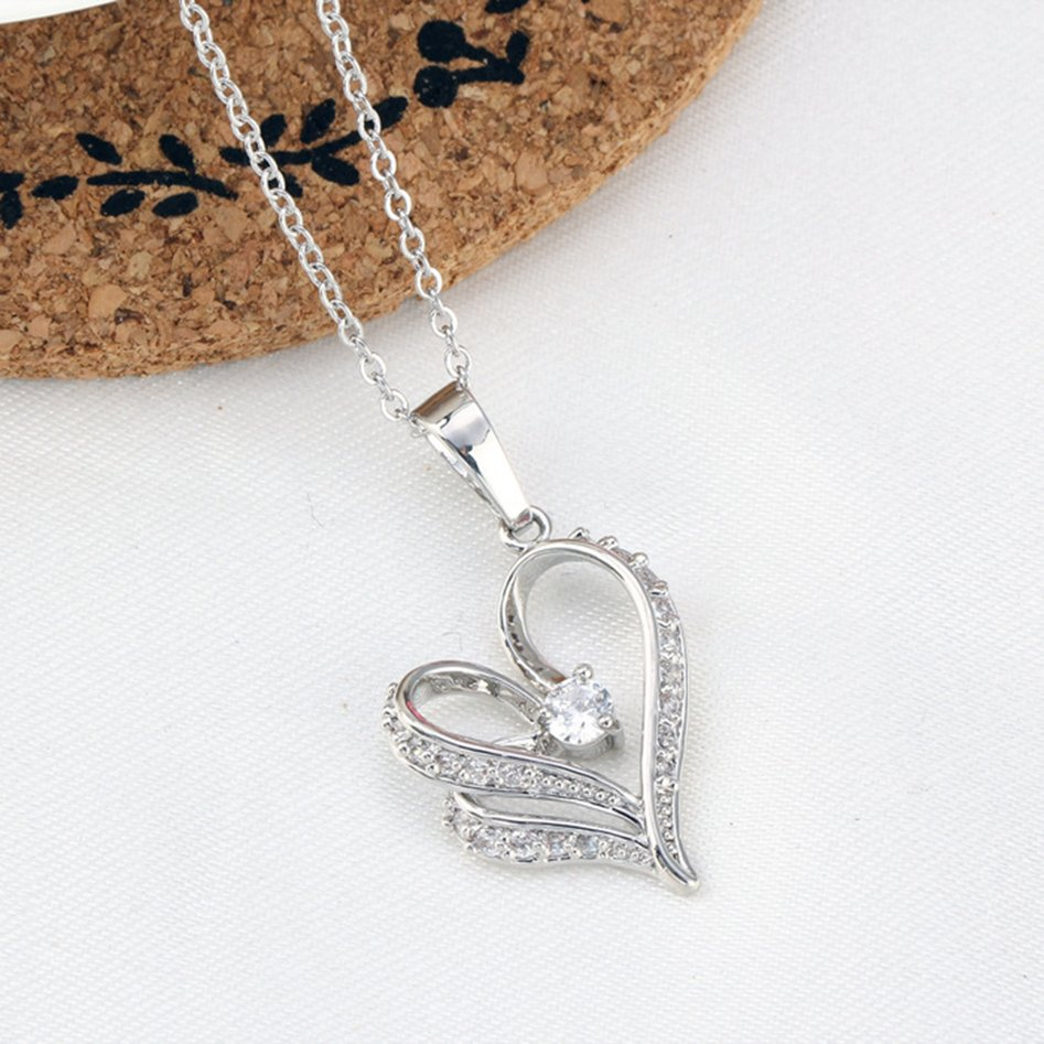 Women Exquisite Rhinestone Heart Charms Pendant Chian Necklace Jewelry Gift FE